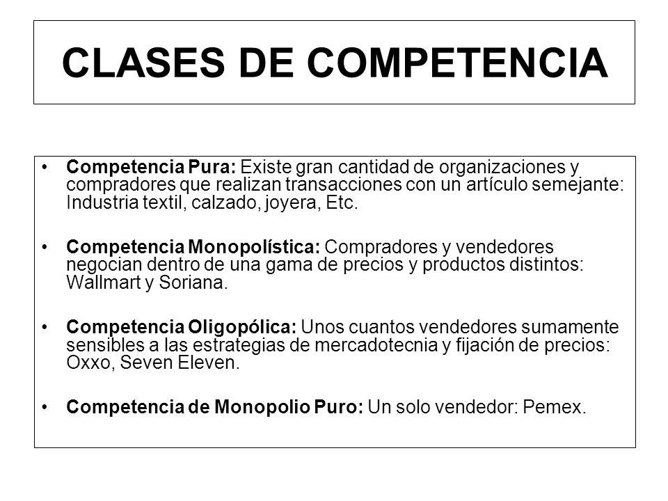 CLASES DE COMPETENCIA