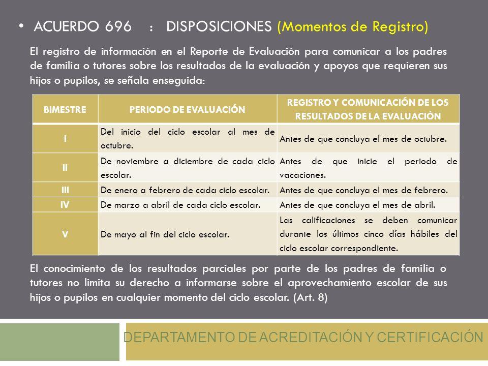 REGISTRO Y COMUNICACIÓN DE LOS RESULTADOS DE LA EVALUACIÓN