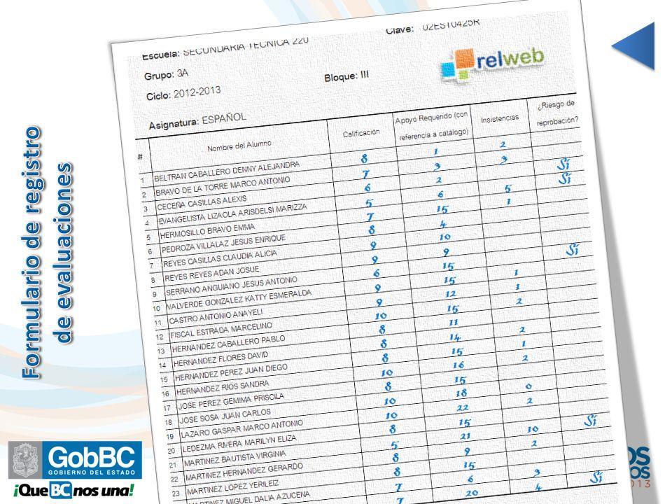 Formulario de registro de evaluaciones