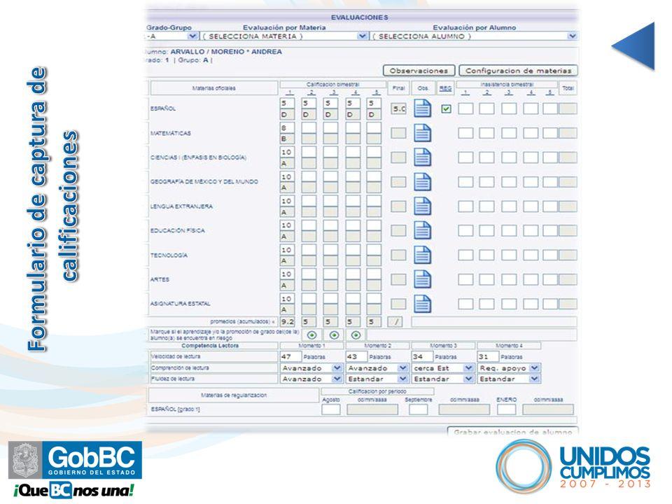 Formulario de captura de calificaciones