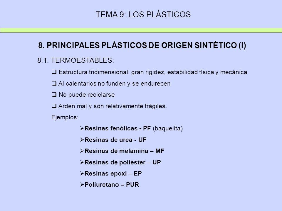 8. PRINCIPALES PLÁSTICOS DE ORIGEN SINTÉTICO (I)
