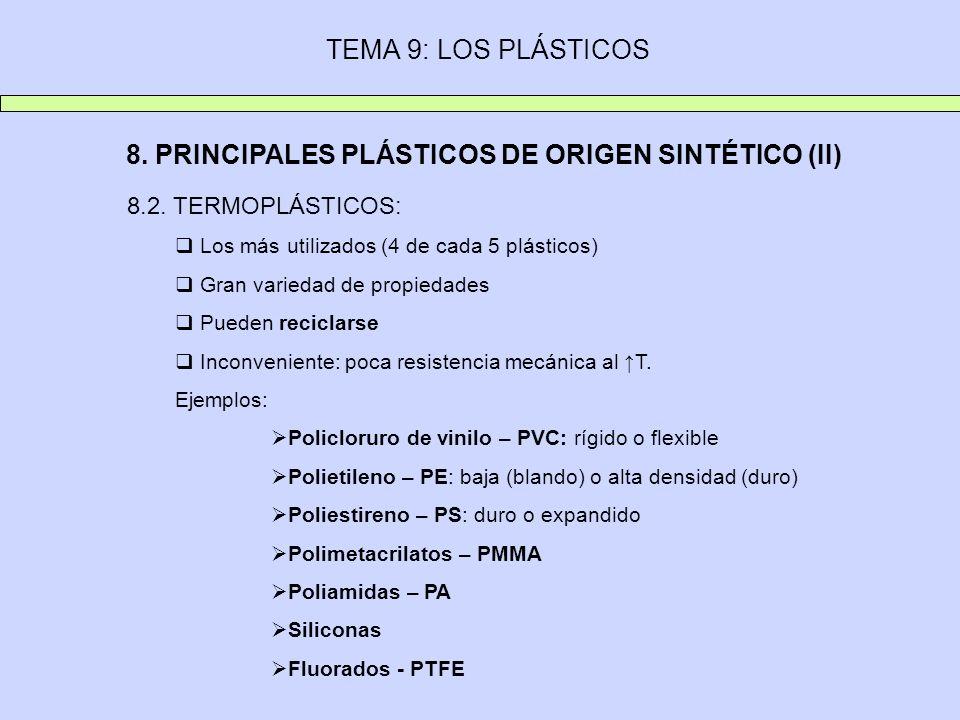 8. PRINCIPALES PLÁSTICOS DE ORIGEN SINTÉTICO (II)