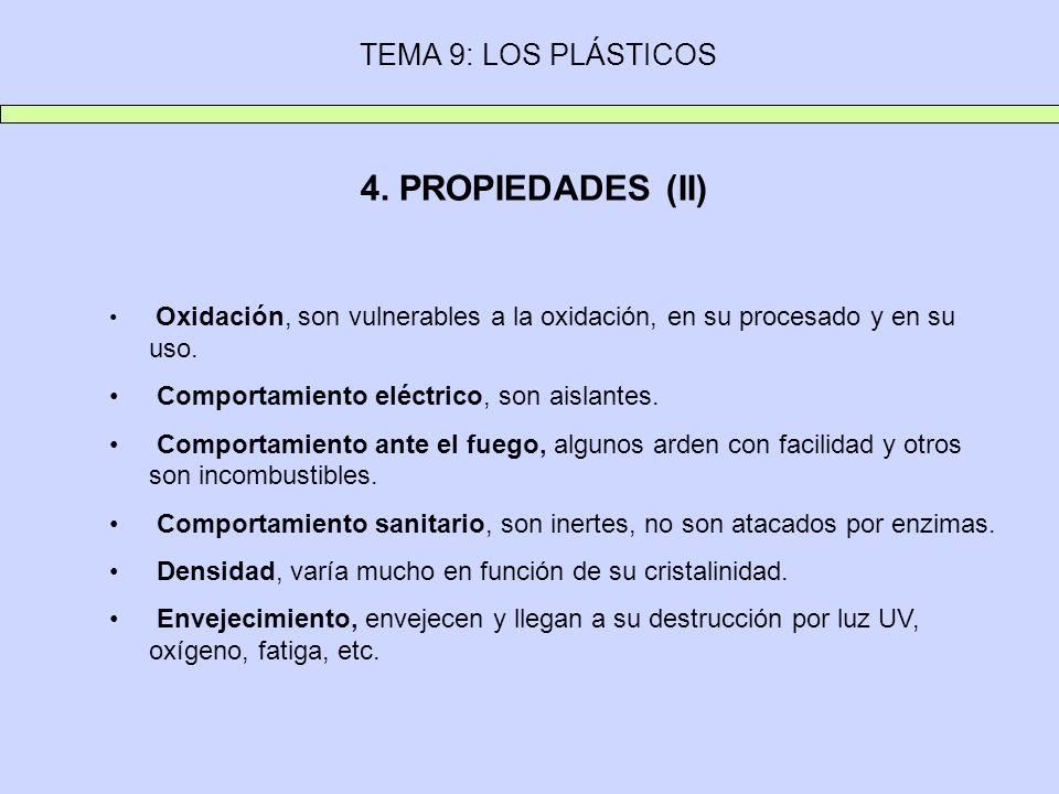 4. PROPIEDADES (II) TEMA 9: LOS PLÁSTICOS