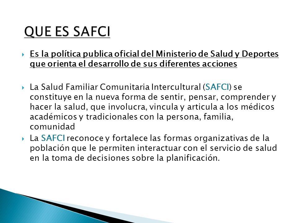 QUE ES SAFCI Es la política publica oficial del Ministerio de Salud y Deportes que orienta el desarrollo de sus diferentes acciones.
