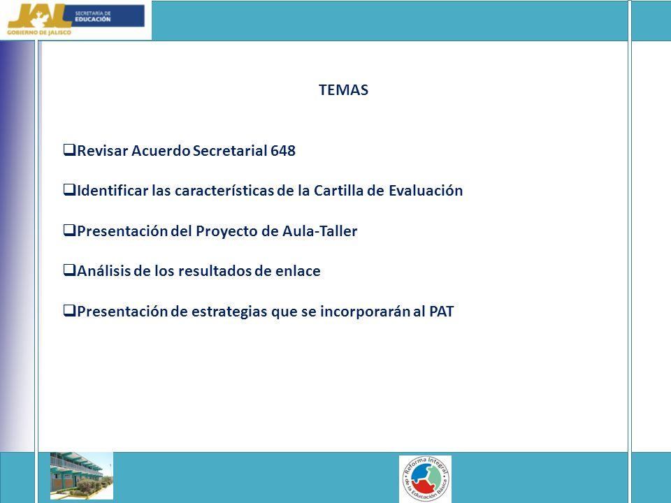 TEMAS Revisar Acuerdo Secretarial 648. Identificar las características de la Cartilla de Evaluación.