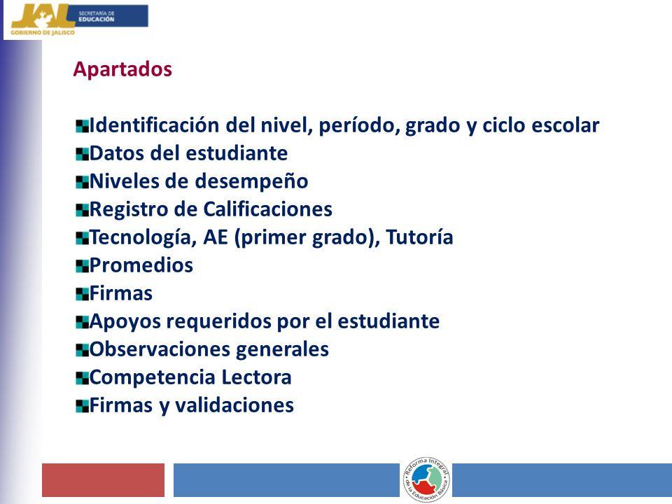 Apartados Identificación del nivel, período, grado y ciclo escolar. Datos del estudiante. Niveles de desempeño.