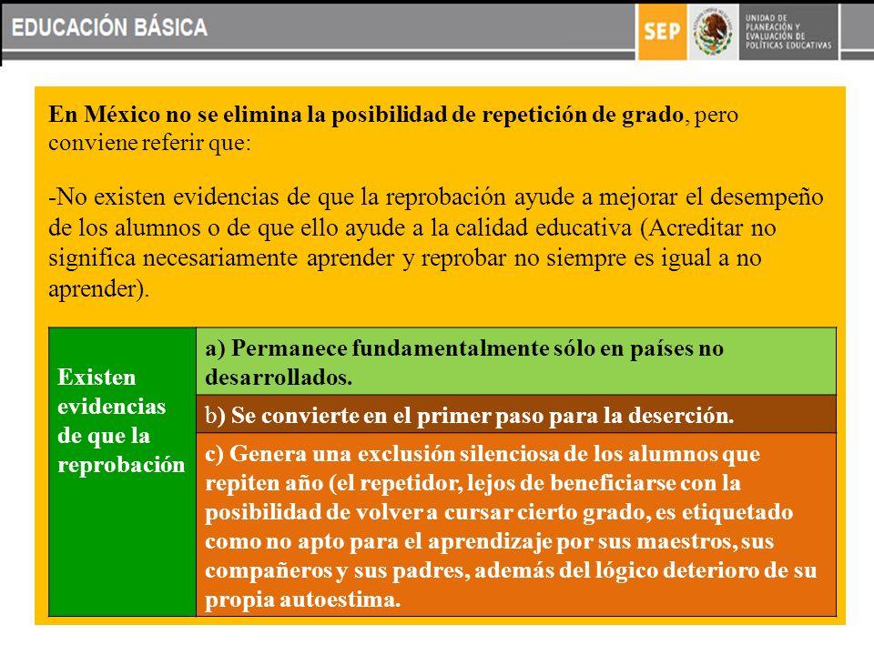 En México no se elimina la posibilidad de repetición de grado, pero conviene referir que: