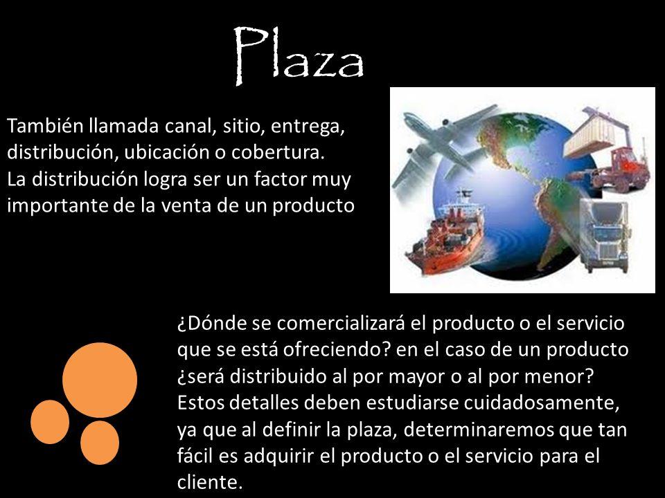 Plaza También llamada canal, sitio, entrega, distribución, ubicación o cobertura.
