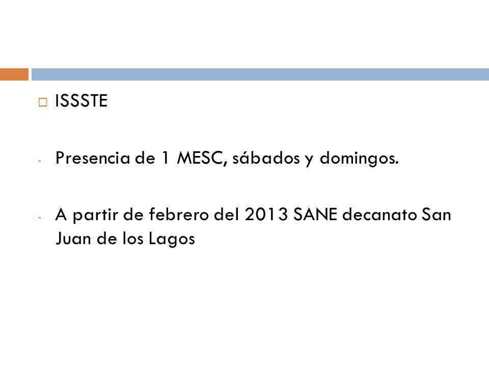 ISSSTE Presencia de 1 MESC, sábados y domingos.