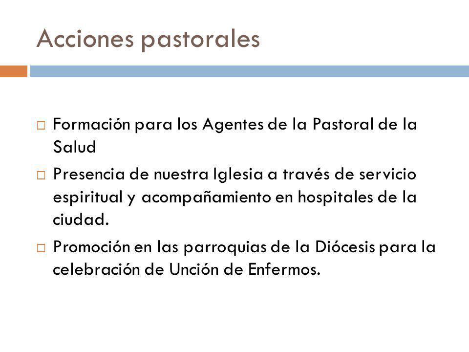 Acciones pastorales Formación para los Agentes de la Pastoral de la Salud.