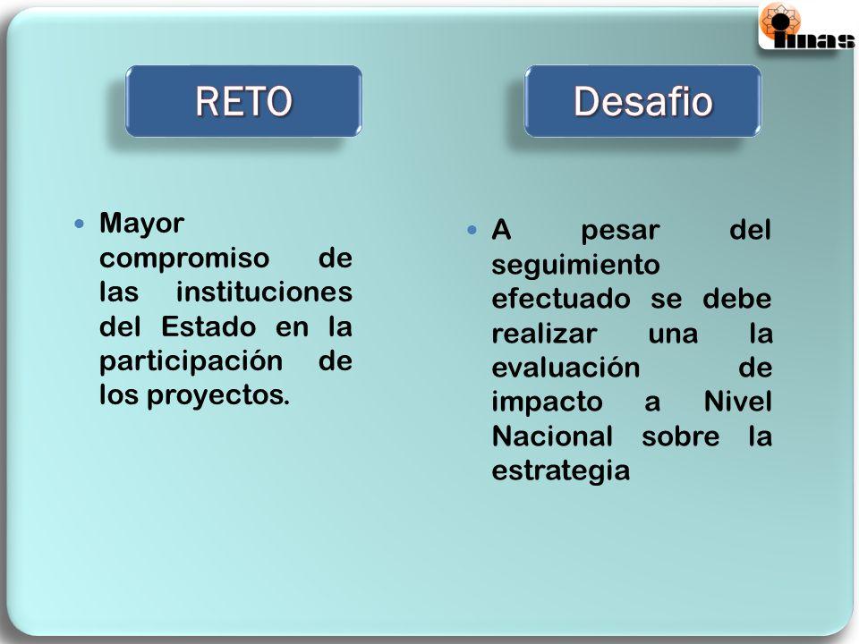 RETO Desafio. Mayor compromiso de las instituciones del Estado en la participación de los proyectos.