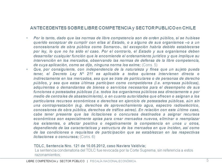ANTECEDENTES SOBRE LIBRE COMPETENCIA y SECTOR PUBLICO en CHILE