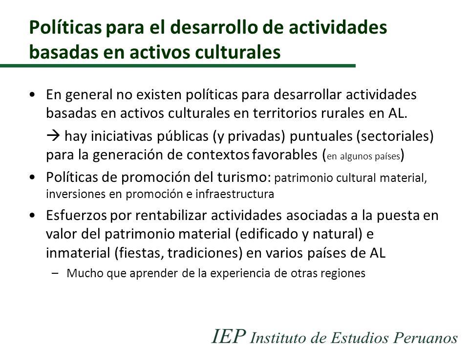Políticas para el desarrollo de actividades basadas en activos culturales