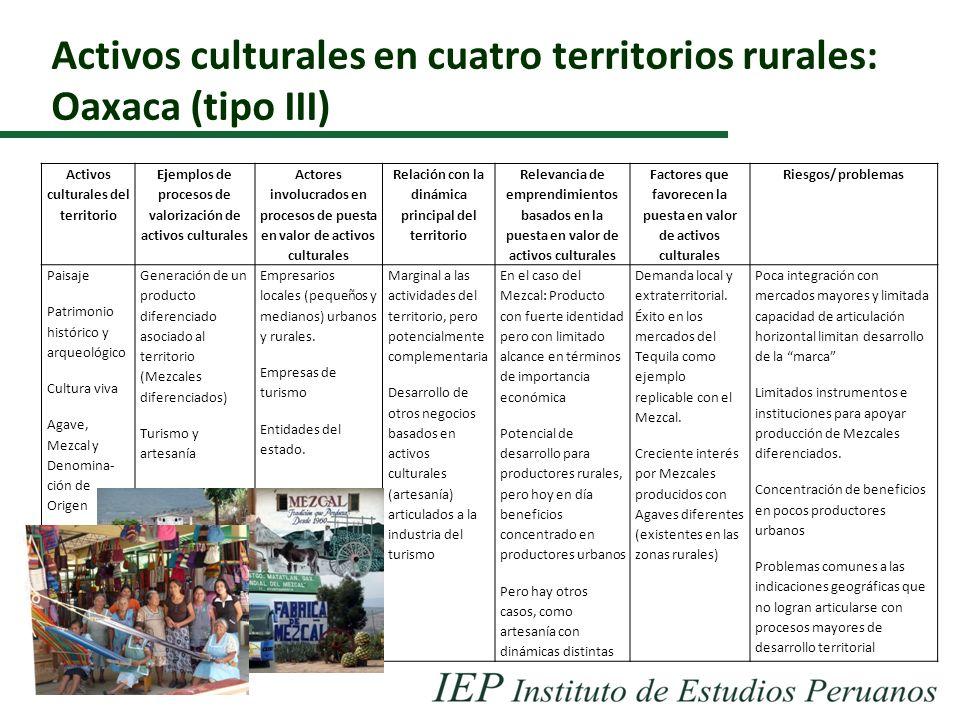 Activos culturales en cuatro territorios rurales: Oaxaca (tipo III)