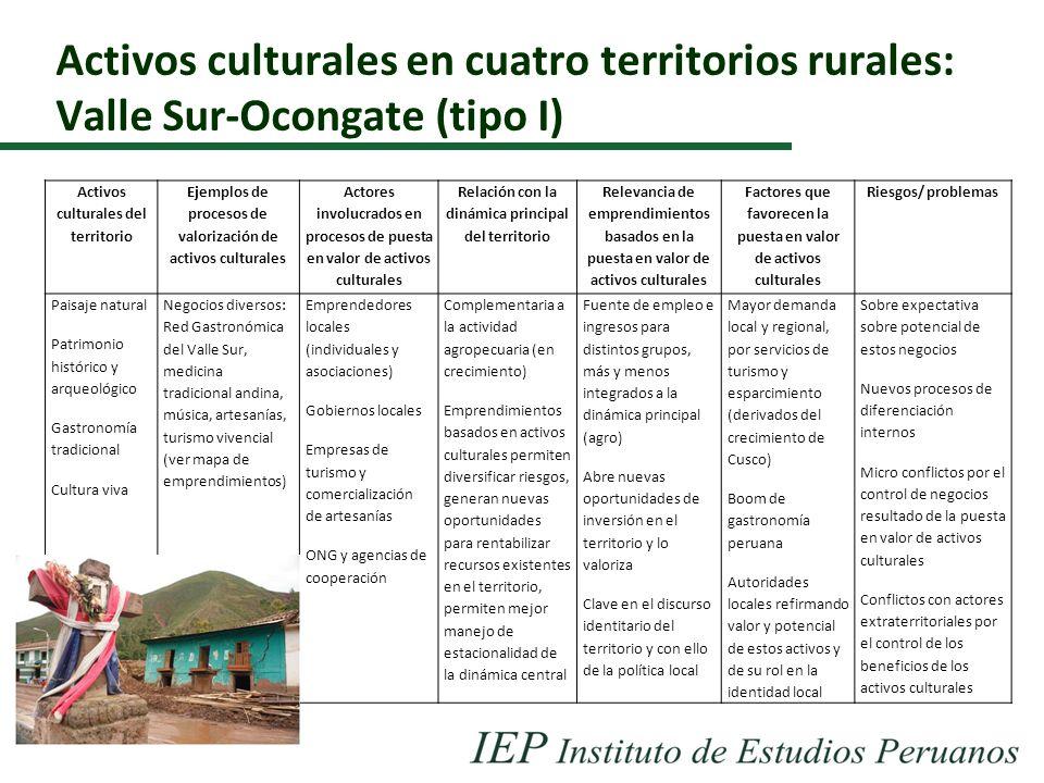 Activos culturales en cuatro territorios rurales: Valle Sur-Ocongate (tipo I)