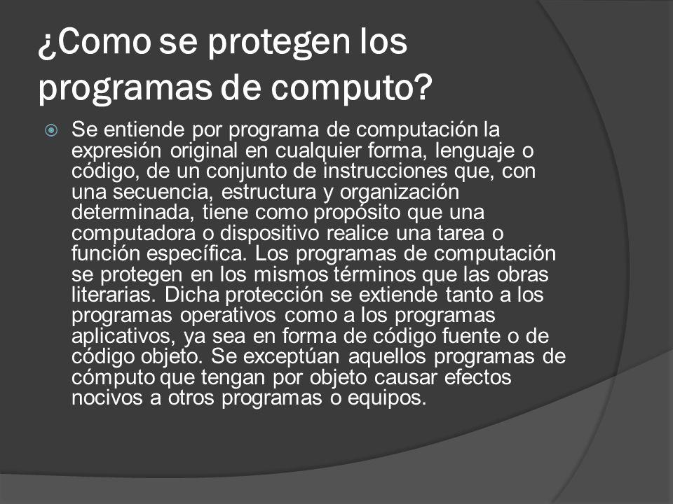 ¿Como se protegen los programas de computo