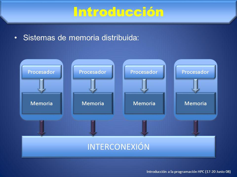 Introducción INTERCONEXIÓN Sistemas de memoria distribuida: Memoria