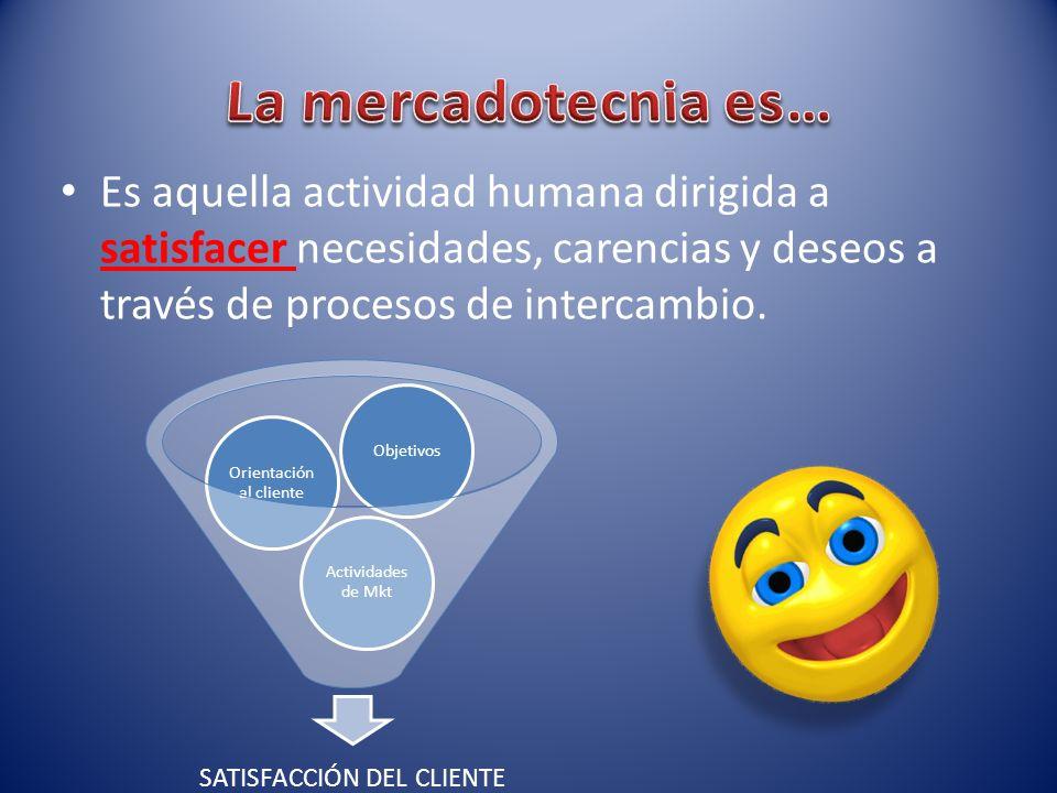 La mercadotecnia es… Es aquella actividad humana dirigida a satisfacer necesidades, carencias y deseos a través de procesos de intercambio.