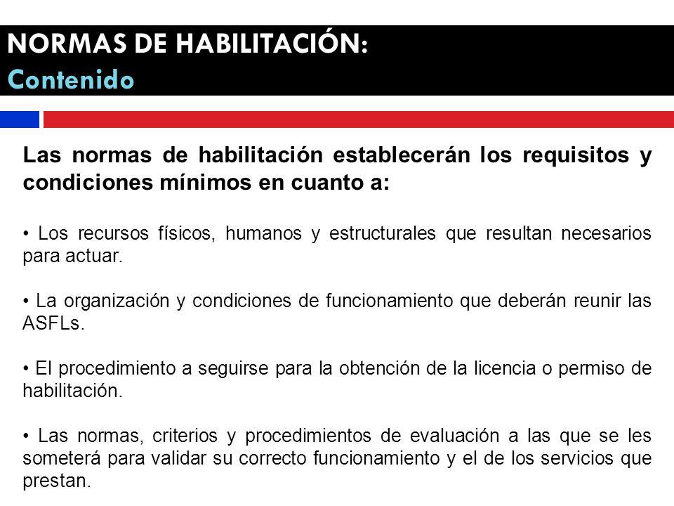 NORMAS DE HABILITACIÓN: Contenido