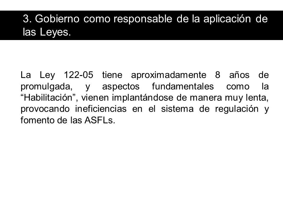 3. Gobierno como responsable de la aplicación de las Leyes.