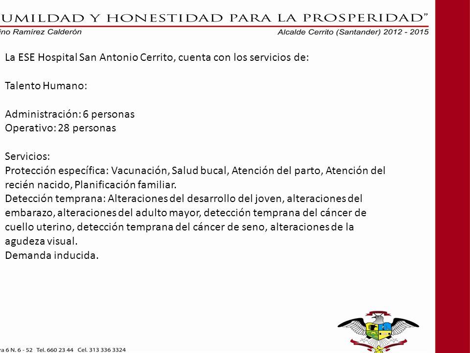 La ESE Hospital San Antonio Cerrito, cuenta con los servicios de: