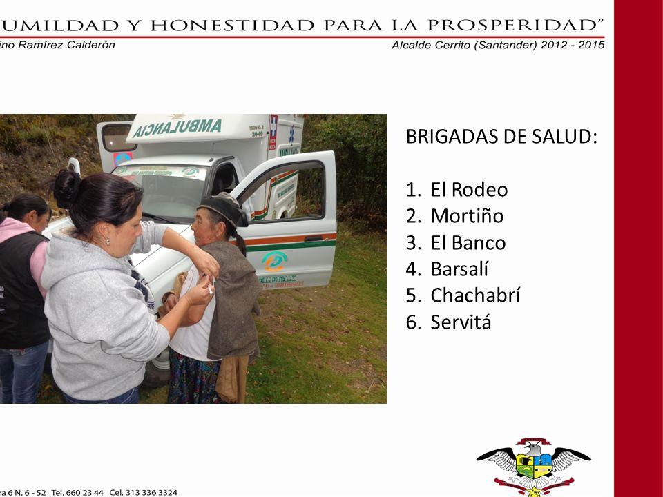BRIGADAS DE SALUD: El Rodeo Mortiño El Banco Barsalí Chachabrí Servitá