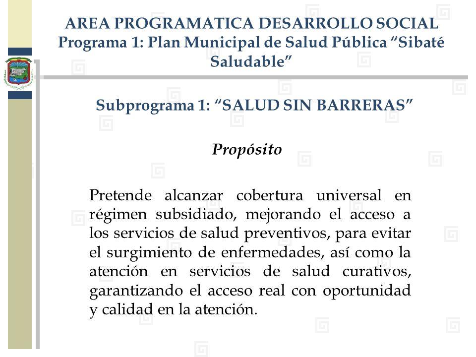 Subprograma 1: SALUD SIN BARRERAS