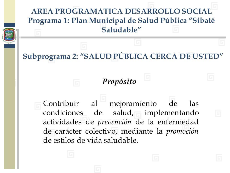 Subprograma 2: SALUD PÚBLICA CERCA DE USTED