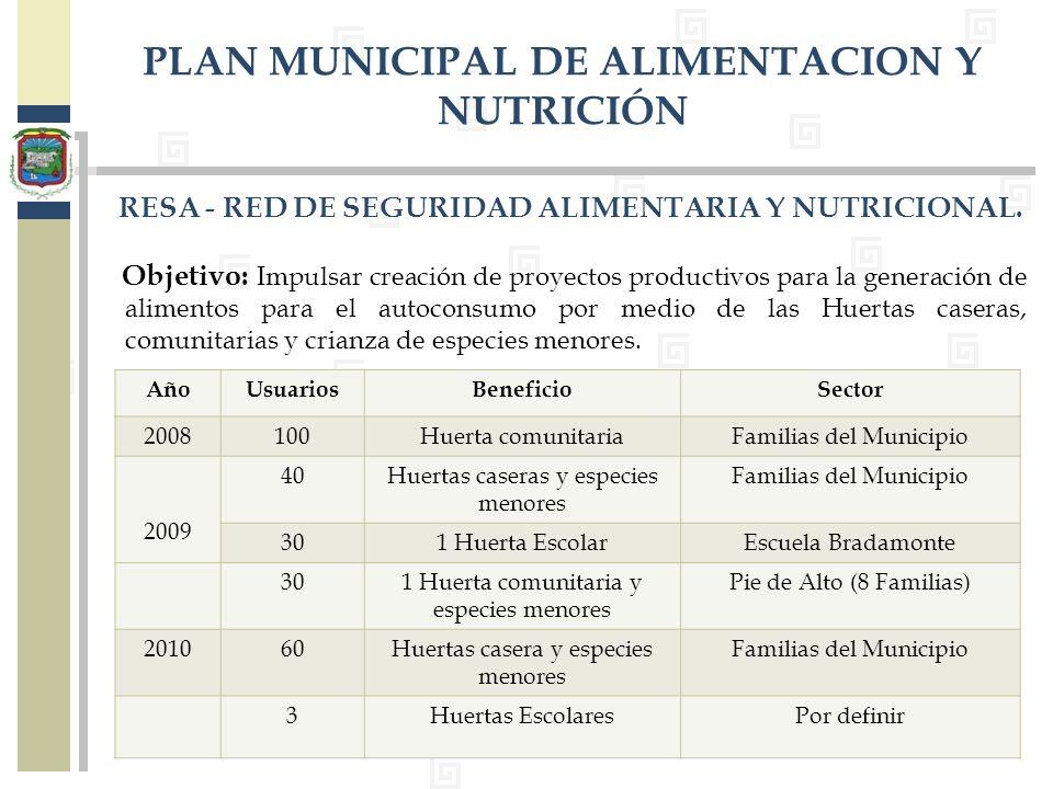 PLAN MUNICIPAL DE ALIMENTACION Y NUTRICIÓN