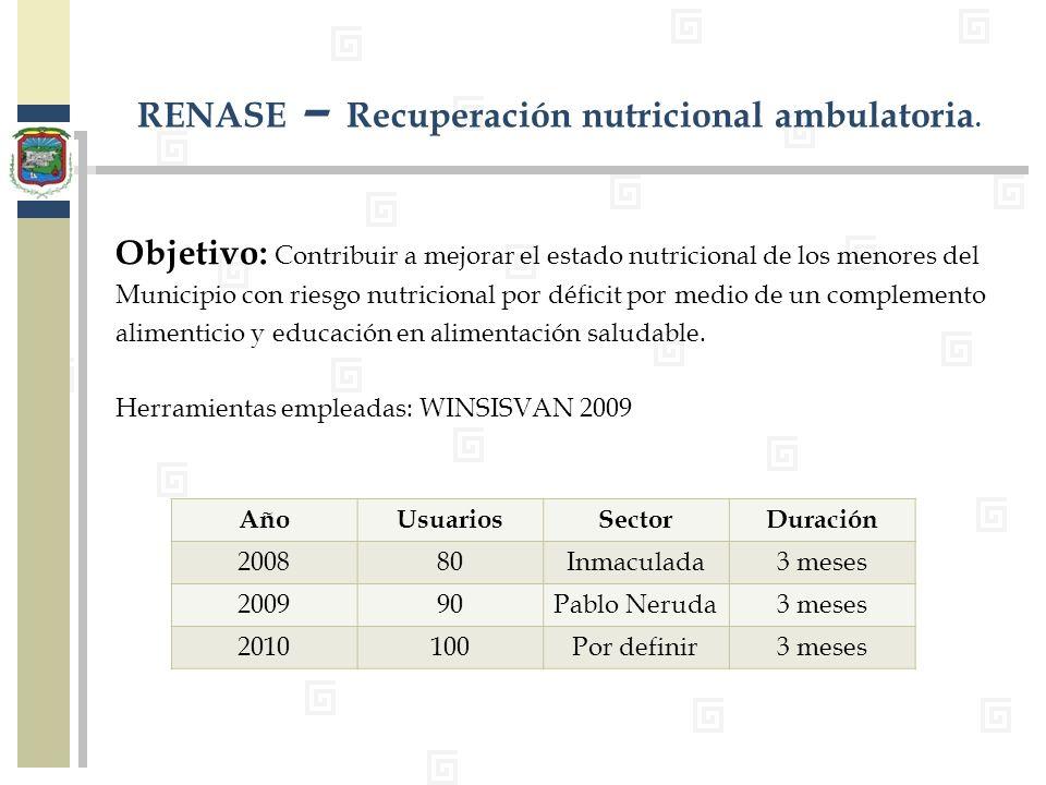 RENASE – Recuperación nutricional ambulatoria.