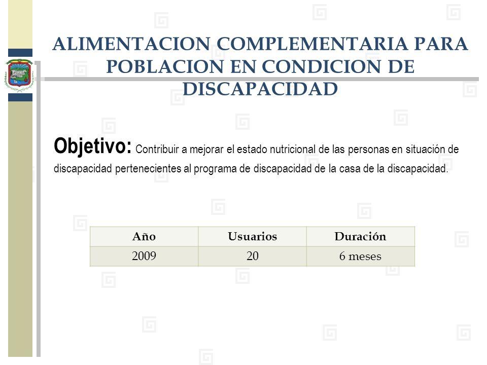 ALIMENTACION COMPLEMENTARIA PARA POBLACION EN CONDICION DE DISCAPACIDAD