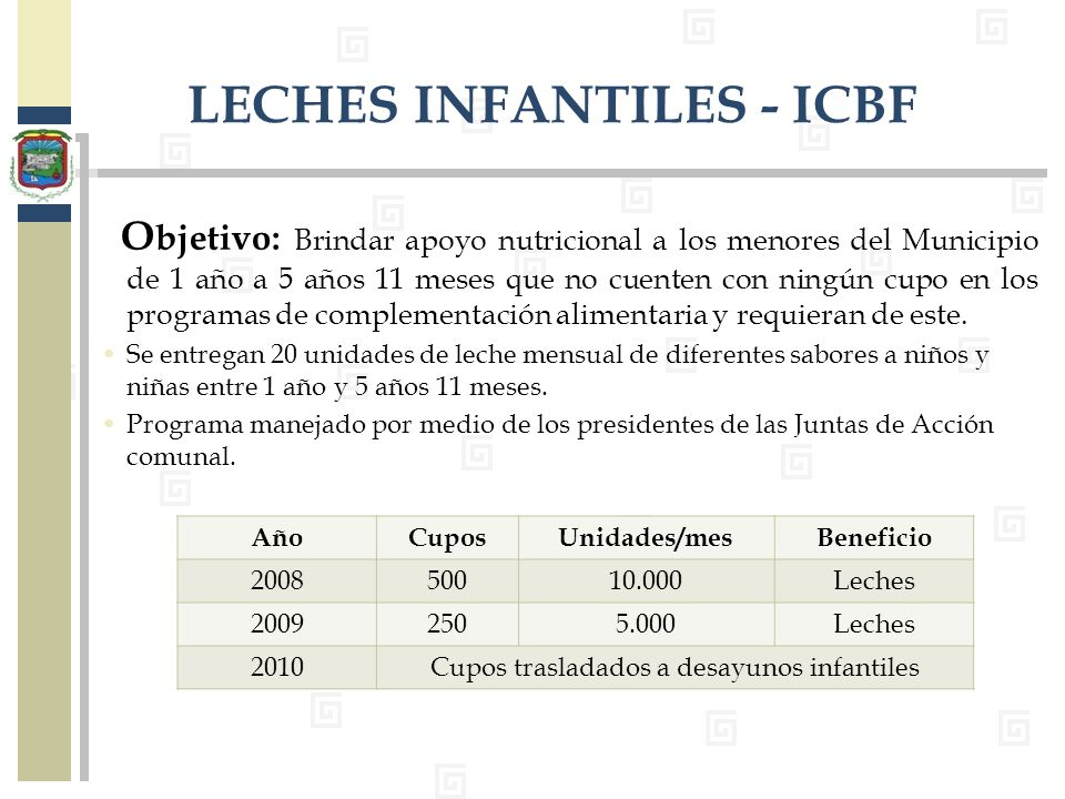 LECHES INFANTILES - ICBF
