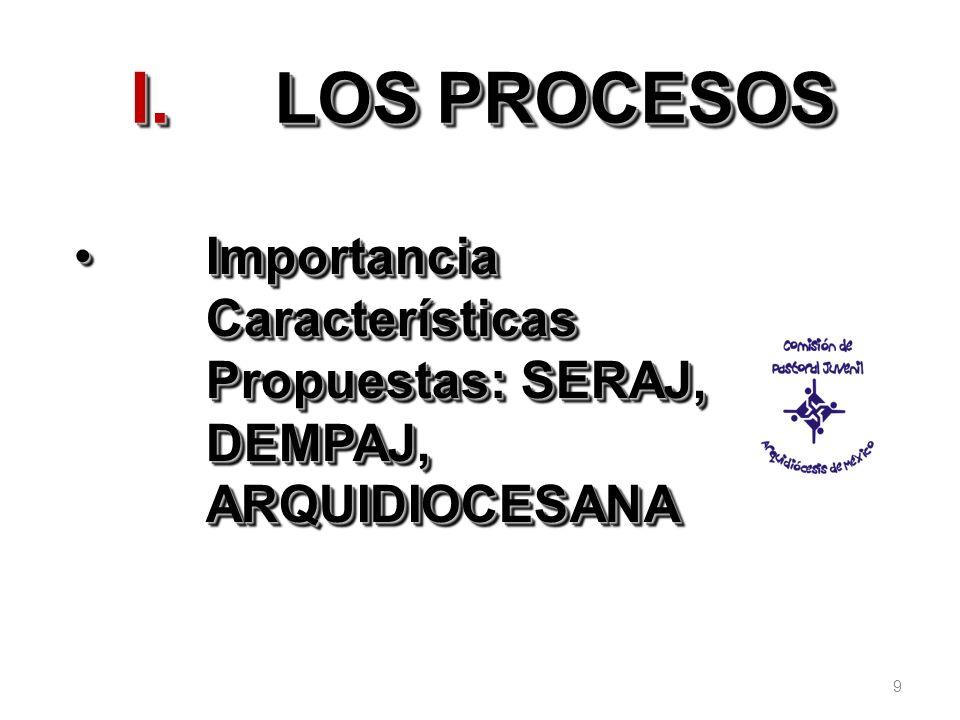 LOS PROCESOS Importancia Características Propuestas: SERAJ, DEMPAJ, ARQUIDIOCESANA 9
