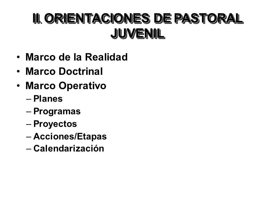 II. ORIENTACIONES DE PASTORAL JUVENIL