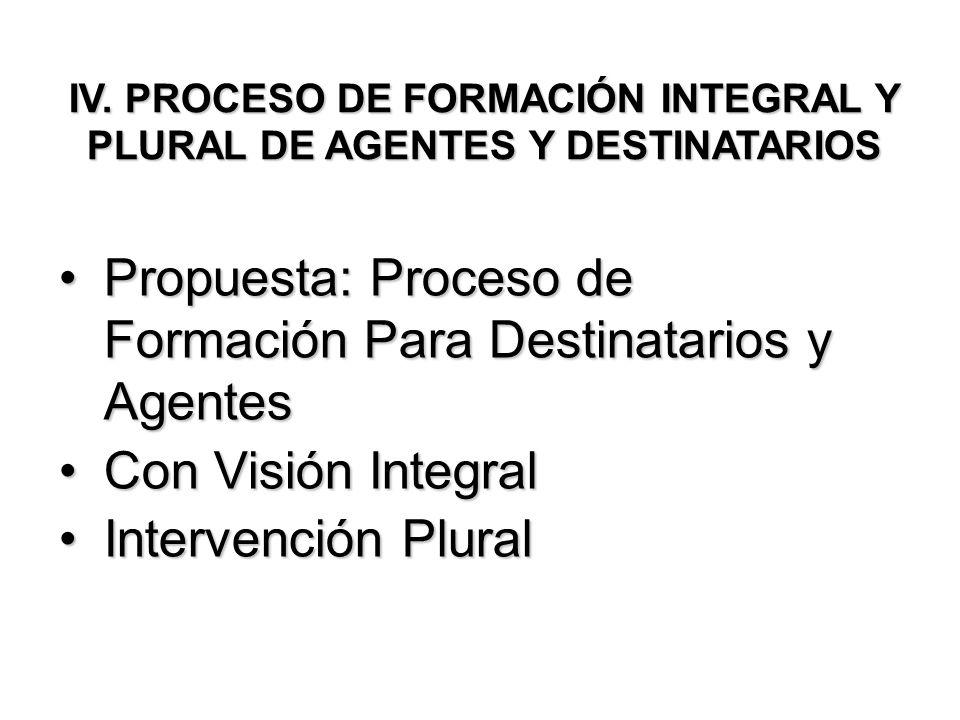 IV. PROCESO DE FORMACIÓN INTEGRAL Y PLURAL DE AGENTES Y DESTINATARIOS