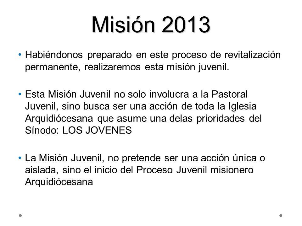 Misión 2013 Habiéndonos preparado en este proceso de revitalización permanente, realizaremos esta misión juvenil.