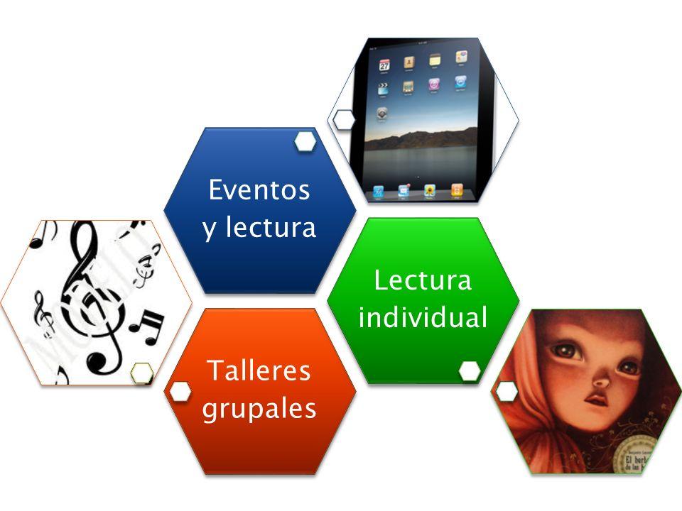 Estrategias Talleres grupales Lectura individual Eventos y lectura