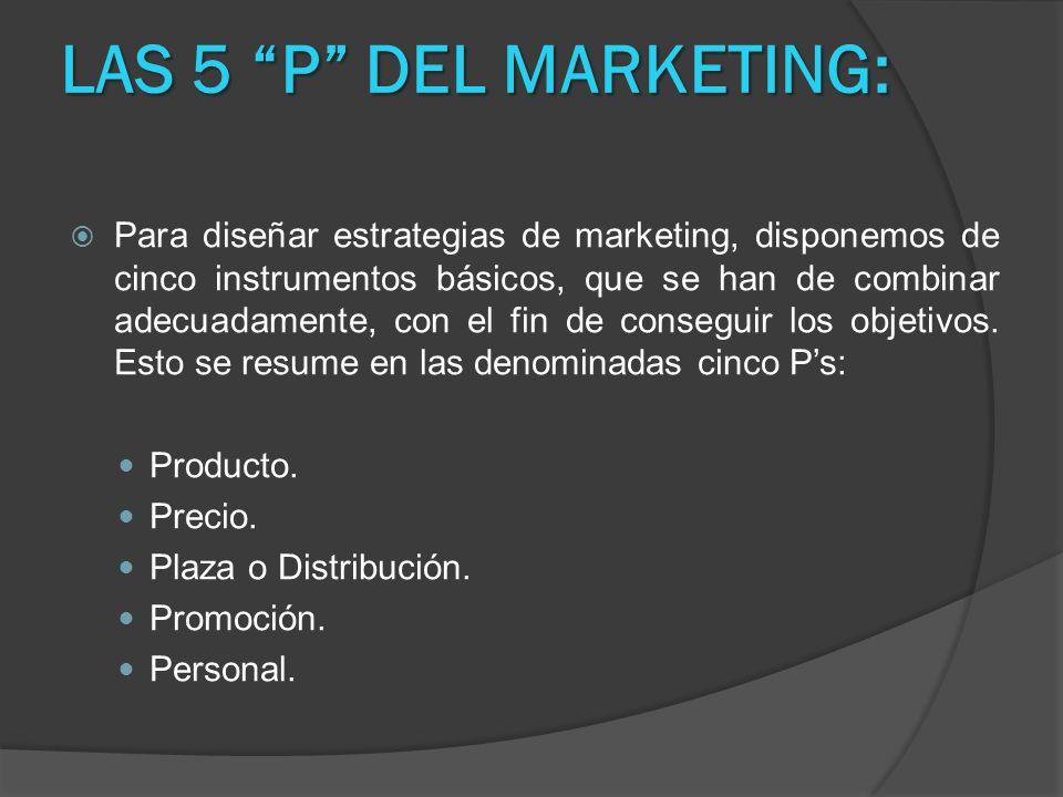 LAS 5 P DEL MARKETING: