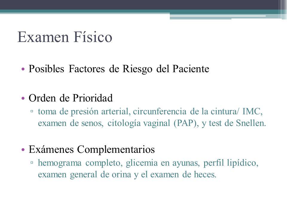 Examen Físico Posibles Factores de Riesgo del Paciente