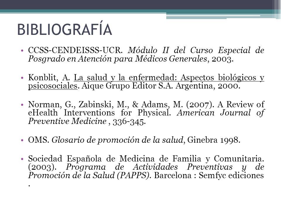 BIBLIOGRAFÍACCSS-CENDEISSS-UCR. Módulo II del Curso Especial de Posgrado en Atención para Médicos Generales, 2003.