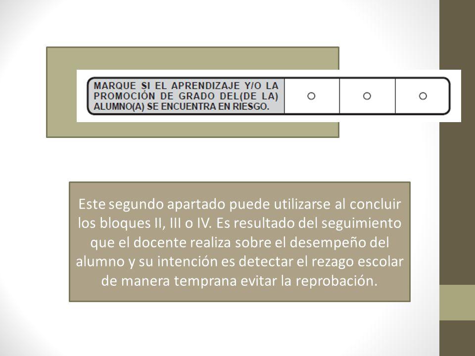 Este segundo apartado puede utilizarse al concluir los bloques II, III o IV.