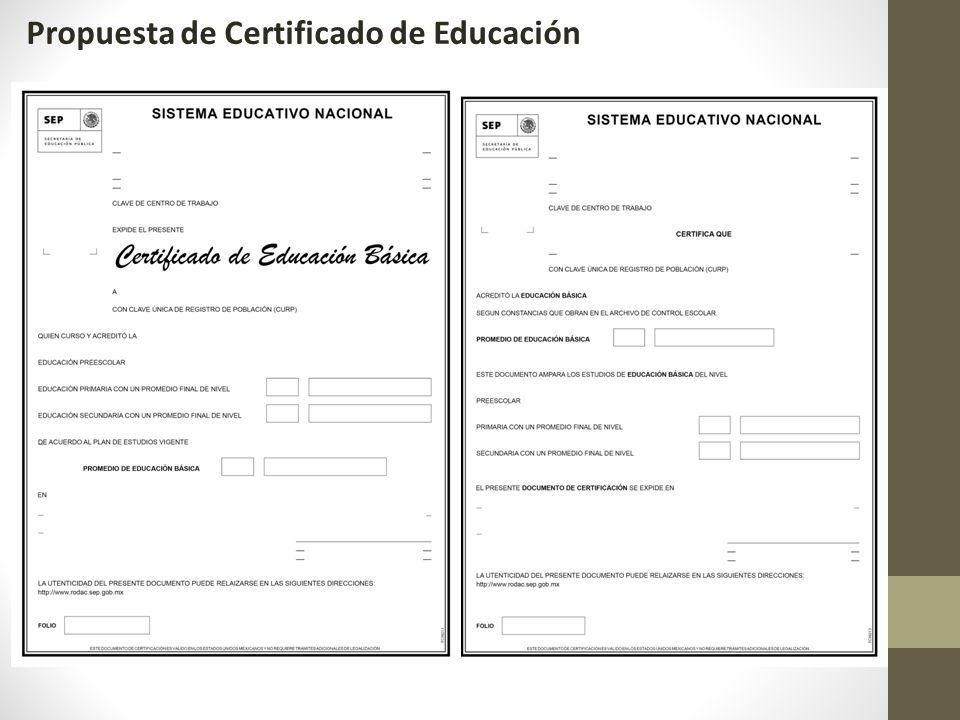 Propuesta de Certificado de Educación Básica