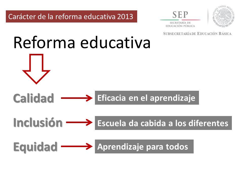 Reforma educativa Calidad Inclusión Equidad Eficacia en el aprendizaje