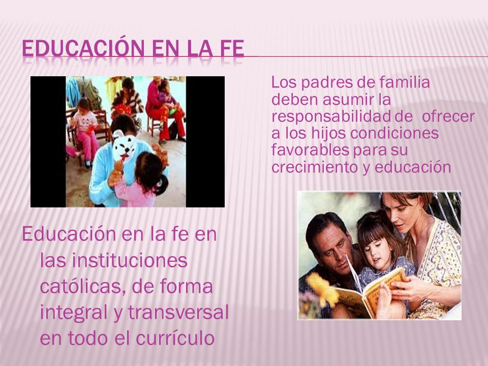EDUCACIÓN EN LA FE