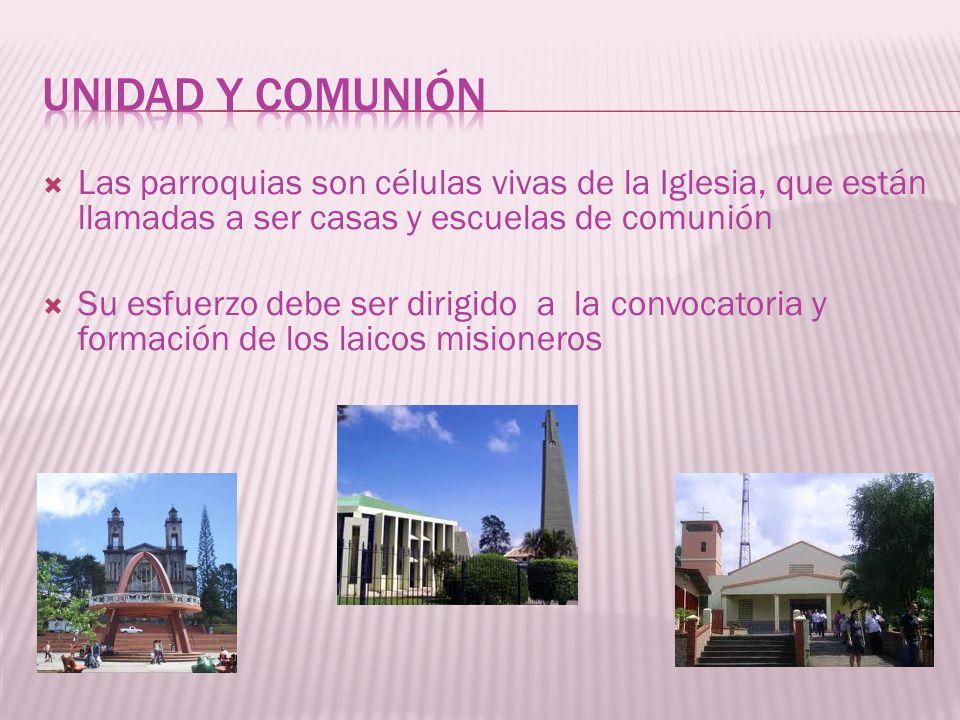 UNIDAD Y COMUNIÓN Las parroquias son células vivas de la Iglesia, que están llamadas a ser casas y escuelas de comunión.