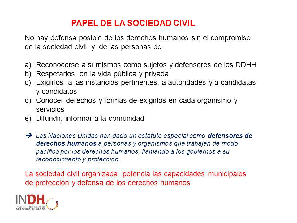 PAPEL DE LA SOCIEDAD CIVIL