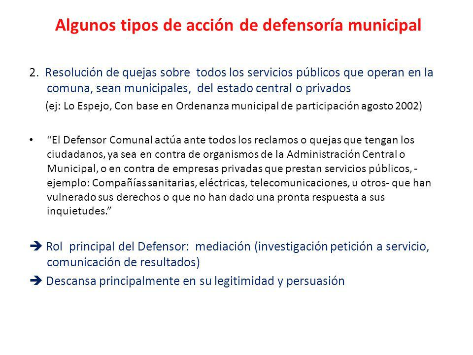Algunos tipos de acción de defensoría municipal