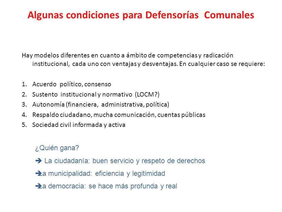 Algunas condiciones para Defensorías Comunales