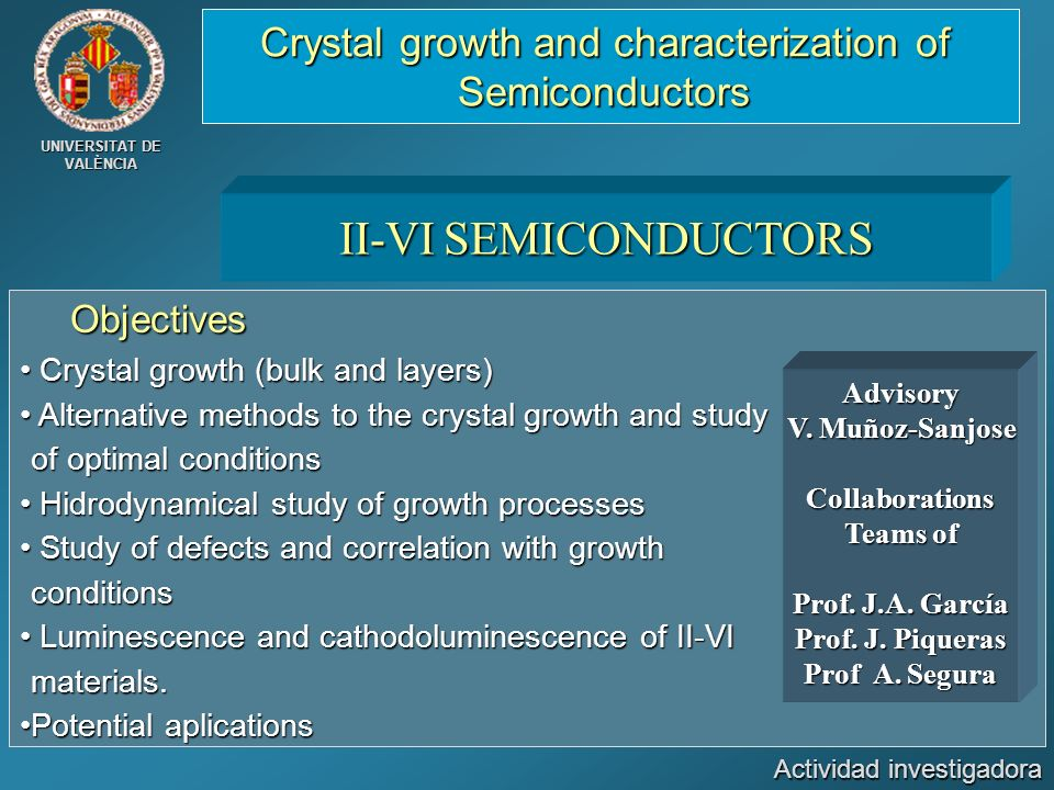 II-VI SEMICONDUCTORS Crystal growth and characterization of