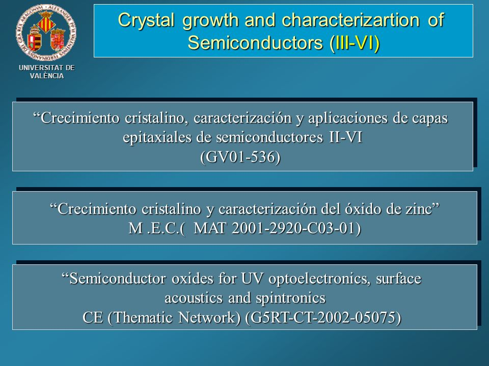 Crystal growth and characterizartion of Semiconductors (III-VI)